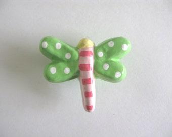 Green Dragonfly Knob -  ceramic dresser drawer knob pull girls room