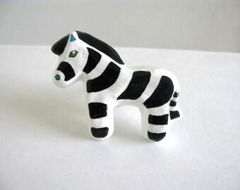 Zebra Drawer Knob -  ceramic pull for dresser drawers kids rooms