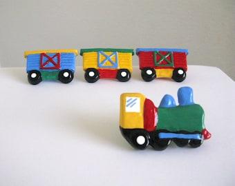 Green Train Drawer Knob - handmade drawer knob for kids