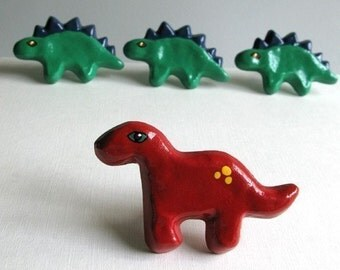 Red Brontosaurus Knob - drawer knob - kids room