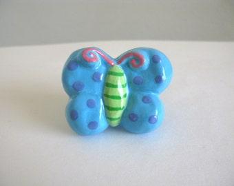 Butterfly Knob - Turquoise Blue - ceramic dresser drawer knob pull