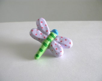 Dragonfly Knob - Lavender - dresser drawer knob pull girls room painted ceramic