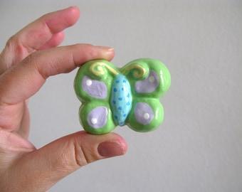Butterfly Knob - Green  - ceramic dresser drawer knob pull