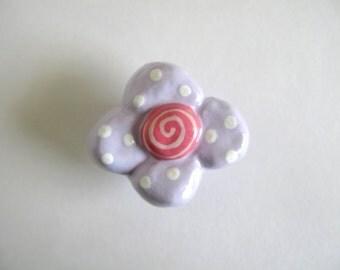 Lavender Flower Knob  -drawer knob, dresser knob, pull for girls room