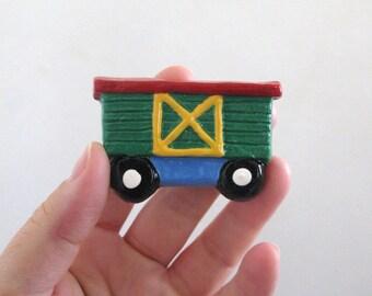 Green Boxcar - Ceramic Drawer Knob