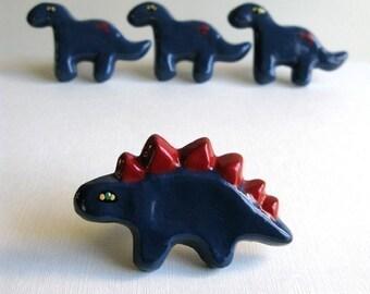 Dark Blue Stegosaurus Knob
