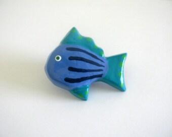 Medium Blue Fish - Ceramic Drawer Knob