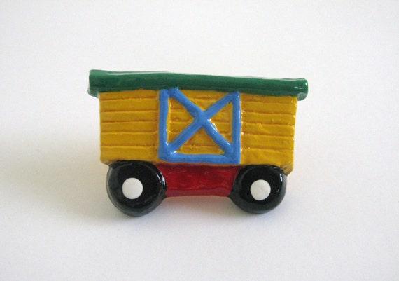 Yellow Boxcar Knob - Ceramic Drawer Knob