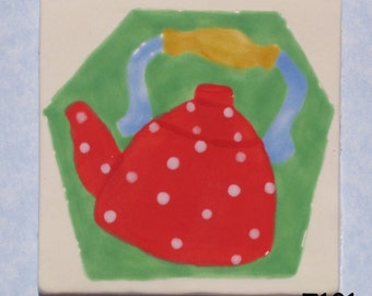 Tea Pot 3x3 Kiln Fired Hand Paint Handmade Tile T101