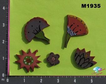 Assorted  Flowers  - Kiln Fired Handmade Ceramic Mosaic Tiles M1935