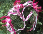 SALE Handfasting Wedding Cords - Orchid Flowers pink white green