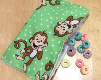 Reusable cloth snack bag - Laughing Monkey