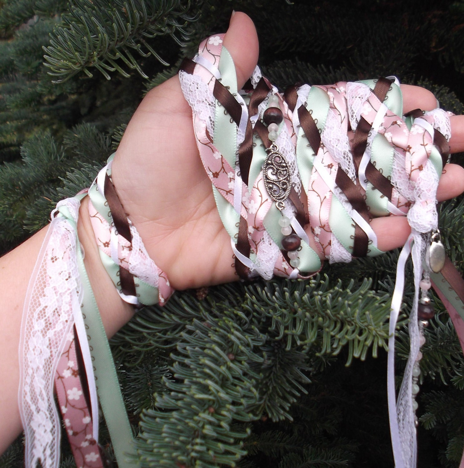 Wedding Handfasting Cords Cherry Blossoms White Pink Green