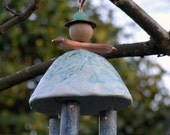 Tinkerbell Copper and Ceramic Wind Chime with Patina