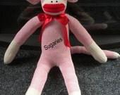 Classy  Sock Monkey in  Frosty Pink