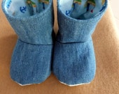 Denim and Flannel Baby Booties