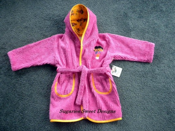 Girls Size 4T Robe in Pink Chenille and Dora Flannel