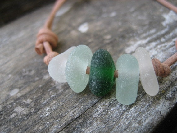 Sea Glass and Leather Bracelet - Genuine Sea Glass Jewelry