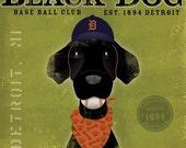 Detroit Tigers black dog baseball club original graphic art on 12 x 12 canvas by stephen fowler