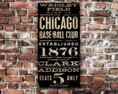 Wrigley Field Chicago Cubs Baseball  vintage style typography art on gallery wrapped canvas by Stephen Fowler