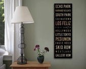 Los Angeles California neighborhoods typography graphic Canvas Art by Stephen Fowler