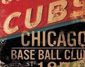 Chicago Baseball Club sign art original on canvas 16 x 16 x 1.5 by stephen fowler