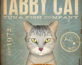 Tabby Cat Tuna Company graphic artwork giclee archival signed artists print by stephen fowler