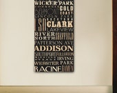 Chicago Neighborhoods typography handmade graphic gallery wrapped canvas design by stephen fowler