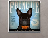 French Bulldog coffee company artwork original graphic illustration signed archival artists print giclee by Stephen Fowler