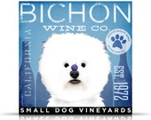 BICHON FRISE wine company vintage style dog artwork on gallery wrapped canvas by stephen fowler