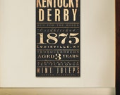 Kentucky Derby Horse Racing typography graphic artwork on gallery wrapped canvas by Stephen Fowler