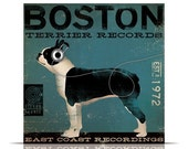 BOSTON terrier records east coast artwork original graphic archival print