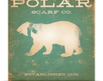 Polar Bear Scarf Company winter artwork vintage style artwork on canvas panel  by stephen fowler