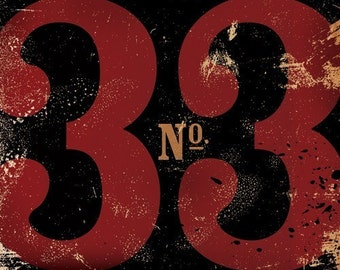 Number 33 thirty three typographic  graphic art giclee archival print customize it by Stephen Fowler PIck A Size