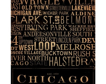 Chicago Streets Typography graphic word art on canvas 16 x 20 by stephen fowler