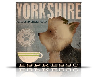 Yorkie dog Coffee Company Yorkshire Terrier original illustration giclee archival print by Stephen Fowler