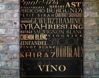 Vino wines of the world typography art on canvas handmade 24 x 30 by stephen fowler