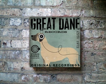 GREAT DANE records album style graphic artwork on gallery wrapped canvas by Stephen Fowler