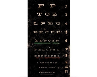 eye exam chart vintage style typography art on canvas 10 x 20 x 1.5 inches by stephen fowler