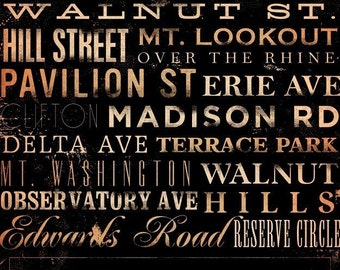 Cincinnati Streets  Typography graphic word art on gallery wrapped canvas by stephen fowler