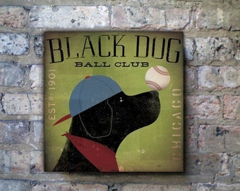 Black Dog Baseball Club graphic art illustration on gallery wrapped canvas by Stephen Fowler
