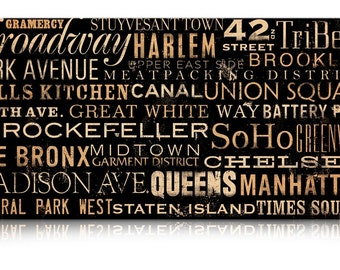 New York City neighborhoods typography graphic art on gallery wrapped canvas by stephen fowler