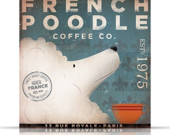 French Poodle Coffee Company vintage style illustration graphic artwork on canvas by stephen fowler