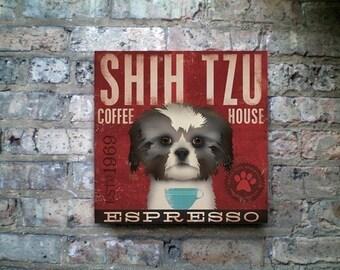 Shih Tzu Coffee Company small dog roast original graphic illustration on canvas by stephen fowler