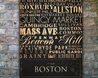 Boston streets neighborhoods sites original illustration graphic art on gallery wrapped canvas by stephen fowler