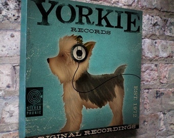 Yorkie records dog Yorkshire terrier album style artwork illustration on gallery wrapped canvas
