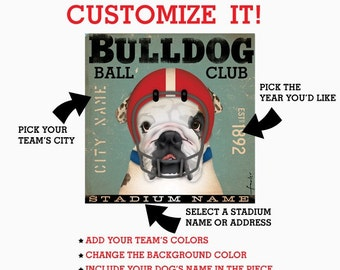 custom BULLDOG FOOTBALL club graphic artwork on canvas 12 x 12 by gemini studio
