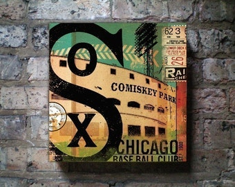 Chicago White Sox baseball club graphic art on gallery wrapped canvas by stephen fowler