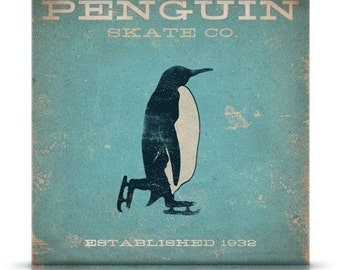 Penguin Skate company winter inspired vintage style artwork on gallery wrapped canvas by stephen fowler