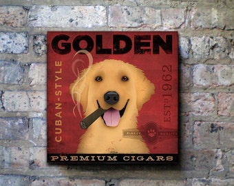 golden retriever cigar company original graphic art on gallery wrapped canvas by stephen fowler